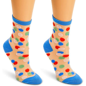 Sheer Ankle Socks in 3 Colors with Confetti Pattern for Women (3 Pairs)
