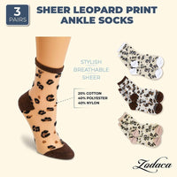 Sheer Leopard Print Ankle Socks for Women (3 Pairs)