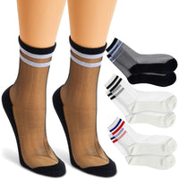 Sheer Socks with Athletic Stripes for Women in 3 Designs (3 Pairs)