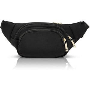 Black Plus Size Fanny Pack with Adjustable Strap 34-60 Inches, Expands to 5XL