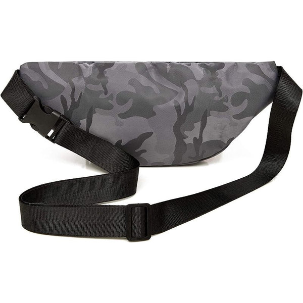 "Gray Camo Fanny Pack Belt Bag Pouch with Adjustable Waist Strap 29""-49"" XL-5XL"