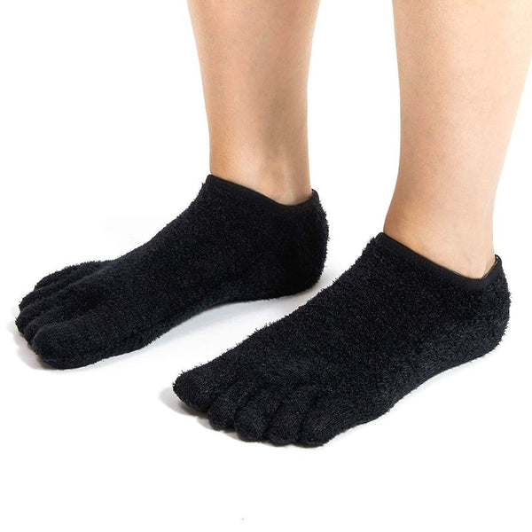 Black 5-Toe Gel Moisturizing Socks (US 7-10, 2 Pairs)