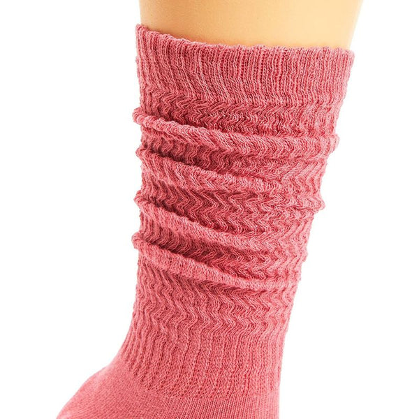 5x Women Slouch Knit Socks, Cotton Knee High Scrunchy Winter Boot Sneakers Sock