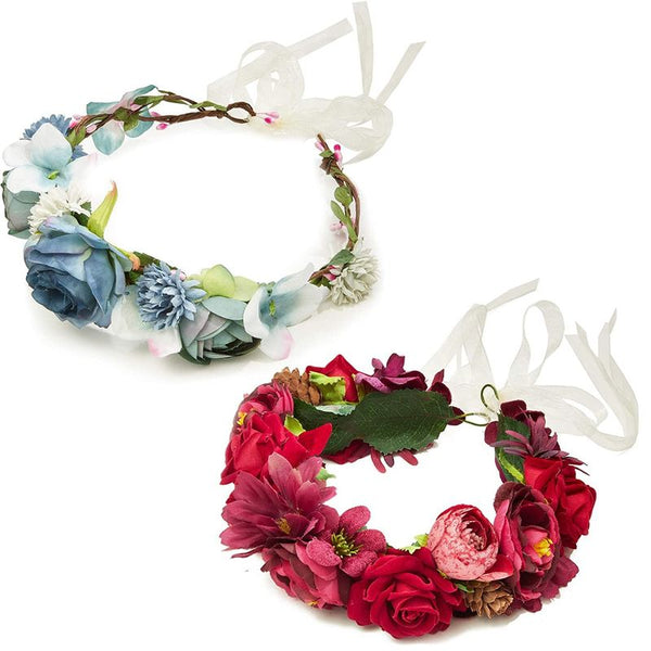 Flower Crown Headband with Adjustable Ties in Red and Blue (2 Pack)