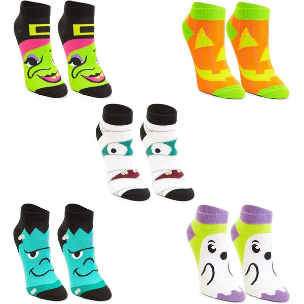 Ankle Length Halloween Socks for Women, Witch, Mummy, Ghost, Monster (5 Pairs)