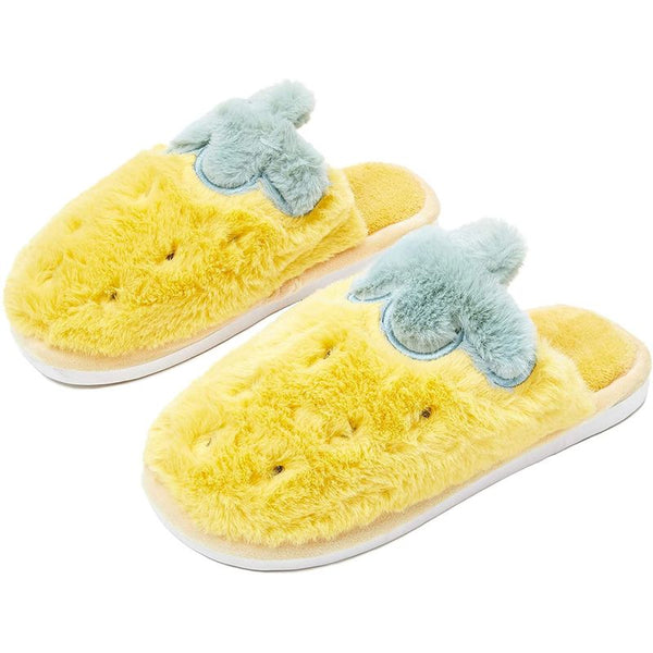 Pineapple Slippers for Women, Yellow House Shoes (Size Small, US 6.5)