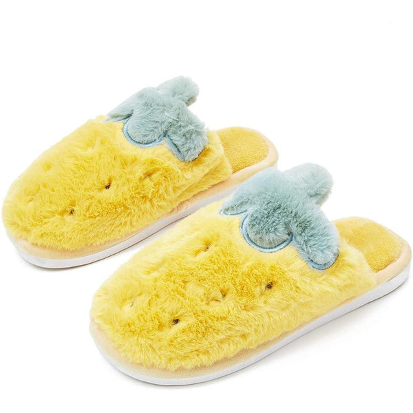 Pineapple Slippers, Cute Fuzzy House Slippers for Women (Large, US W 8.5) Yellow