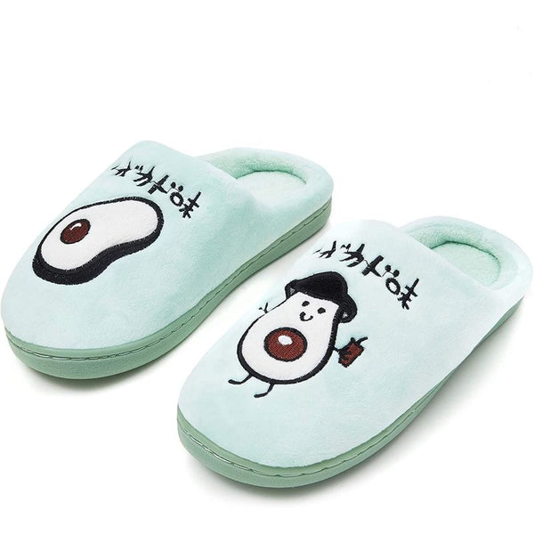 Avocado Slippers, Gift or Home Shoes (US Women 7.5) Blue