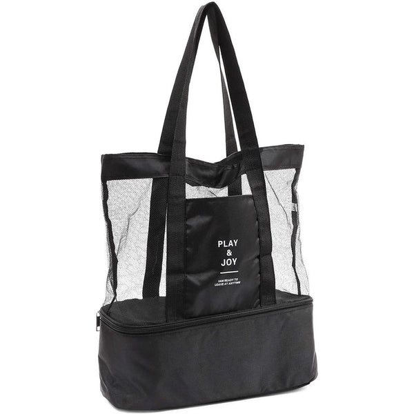 Black Mesh Beach Tote Bag with Cooler (17 x 16 x 5 Inches)