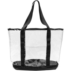 Clear PVC Tote Bag, Stadium Approved Tote with Zipper (19 x 6 x 13 Inches)
