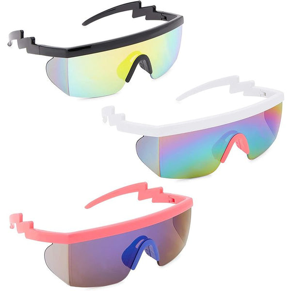 Neon 80's Sunglasses for Rave Accessories, Rimless Mirrored Glasses (3 Pack)