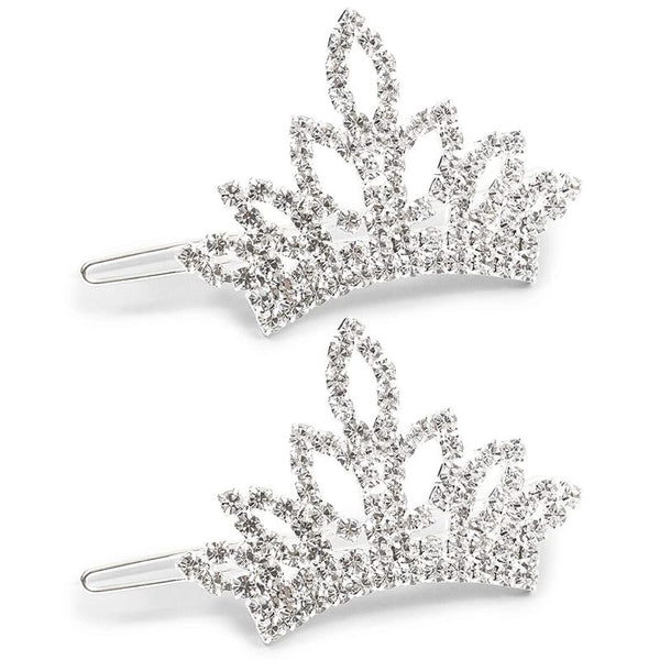 2.5 x 1.4 Inch Dog Crown with White Rhinestone, Small Pet Tiara (2 Pack)