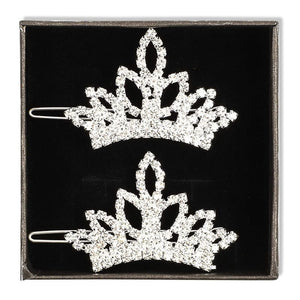 Rhinestone Crown Hair Clips For Dogs (2.5 x 1.4 In, 2 Pack)