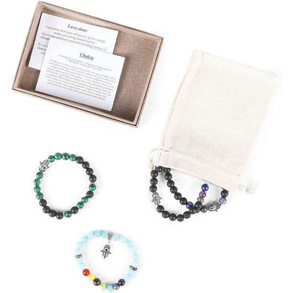Zodaca Evil Eye Bracelet, Lava Stone Beads (8mm, 4-Pack)