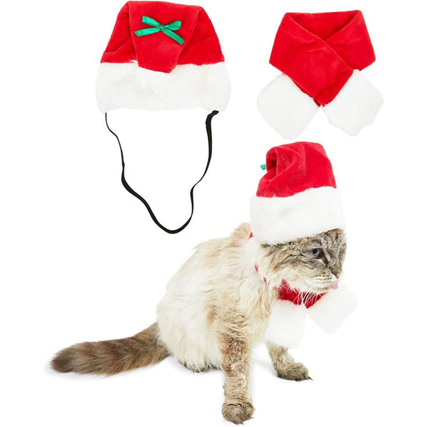 Santa Claus Hat and Scarf for Cats, Pets Christmas Costume (Red, 2 Pieces)