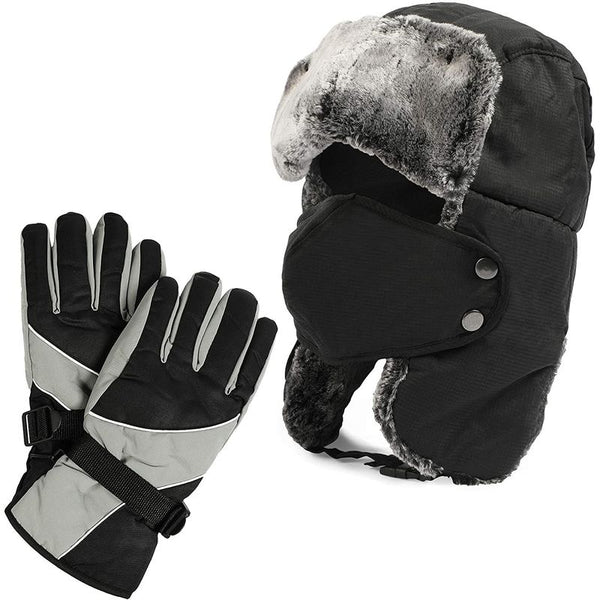 Russian Ushanka Trapper Hat with Faux Fur Gloves and Mask For Skiing (3 Pieces)