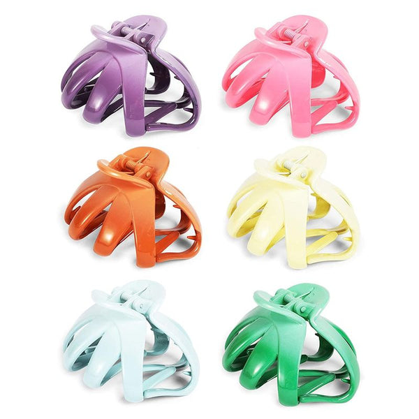Hair Claw Clips for Women with 8 Prongs, 6 Colors (3 x 2.5 In, 6 Pack)
