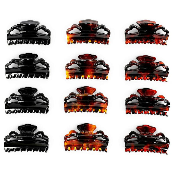 Tortoise Shell Claw Hair Clips for Women, 10 Prongs (3.4 In, 12 Pack)