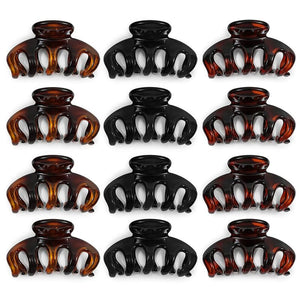 Hair Claw Clips for Women in Black, Brown, Amber (3.5 Inches, 12 Pack)
