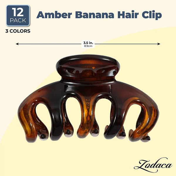 Amber Banana Hair Clip (3.5 in, 12 Pack)