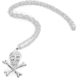 Gothic Skull and Crossed Swords Necklace (28 Inches, Silver)