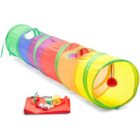 Cat Tunnel for Indoor Pets, Includes Storage Bag and Toys (45 x 10 in, 6 Pieces)