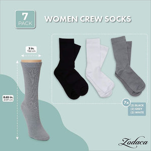 Women's Crew Socks, Black, White, Grey (7 Pairs)