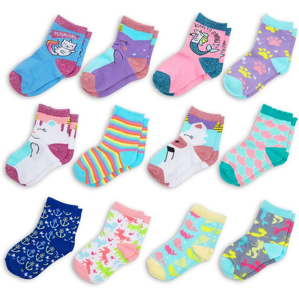 Girls Crew Socks, Cute Creature Designs (12 Pairs)