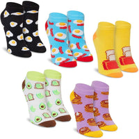 Crew Socks for Women, Breakfast Food Designs (5 Pairs)