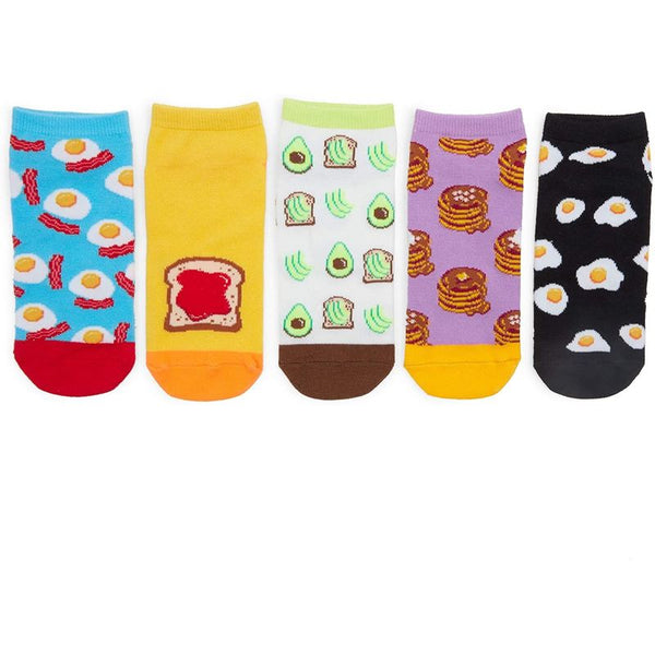 Crew Socks for Women, Breakfast Food (5 Pairs)