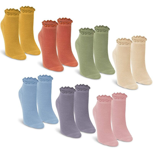 Ruffle Crew Socks for Women, Pastel Colors (One Size, 7 Pairs)