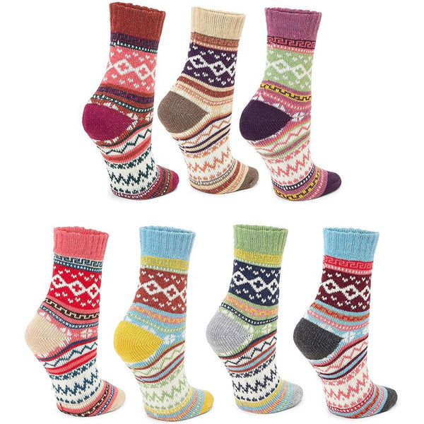 Fair Isle Knit Crew Socks Gift Set for Women and Men (7 Pairs)