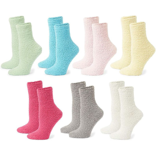 Colorful Fuzzy Socks for Women (US Size 9-11, 7 Pairs)