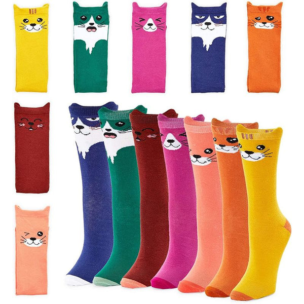 Cat Lovers Crew Socks for Women, Fun Gift Set (One Size, 7 Pairs)