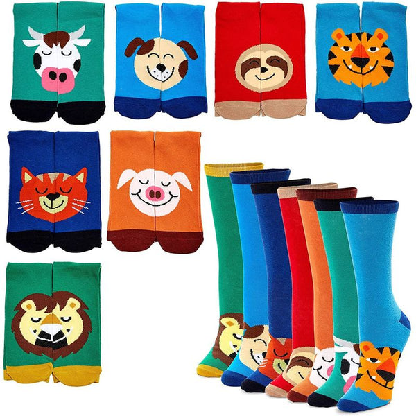 Animal Crew Socks for Men and Women, One Size (7 Pairs)
