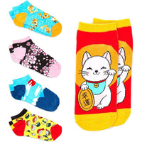 Japanese Fuji Lovers Ankle Socks for Women, Fun Gift Set (One Size, 5 Pairs)