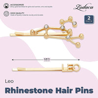 Leo Zodiac Hair Pins, Rhinestone Barrettes (Gold, 2 Pack)