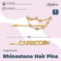 Capricorn Zodiac Hair Pins, Rhinestone Barrettes (Gold, 2 Pack)