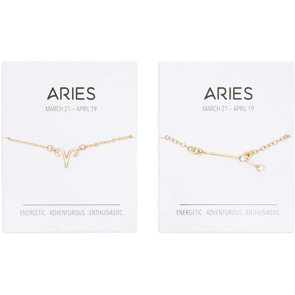 Aries Zodiac Necklace and Bracelet, Astrology Jewelry Sets for Women