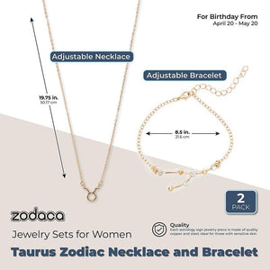 Taurus Zodiac Necklace and Bracelet, Astrology Jewelry Sets for Women
