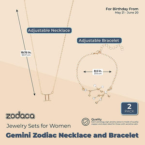 Gemini Zodiac Necklace and Bracelet, Astrology Jewelry Sets for Women