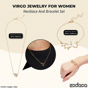 Virgo Zodiac Necklace and Bracelet, Astrology Jewelry Sets for Women