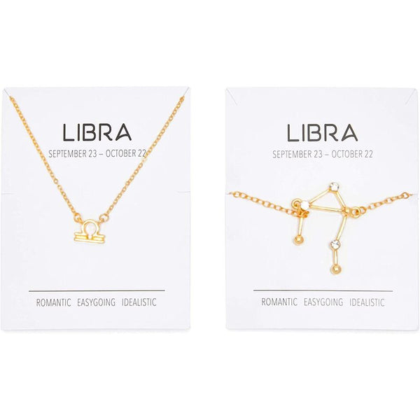 Libra Zodiac Necklace and Bracelet, Astrology Jewelry Set for Women (2 Pieces)
