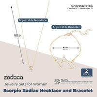 Scorpio Zodiac Necklace and Bracelet, Astrology Jewelry Sets for Women