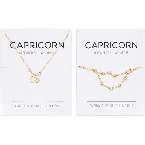 Capricorn Zodiac Necklace and Bracelet, Astrology Jewelry Sets for Women