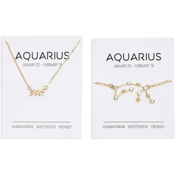 Aquarius Zodiac Necklace and Bracelet, Astrology Jewelry Sets for Women