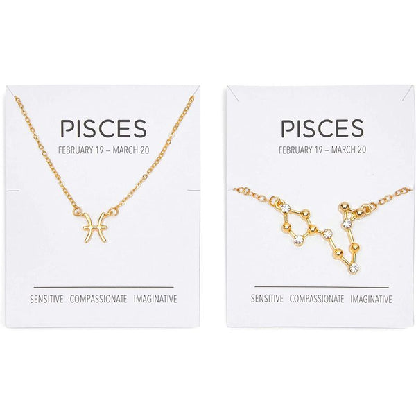 Pisces Zodiac Necklace and Bracelet, Astrology Jewelry Set for Women (2 Pieces)