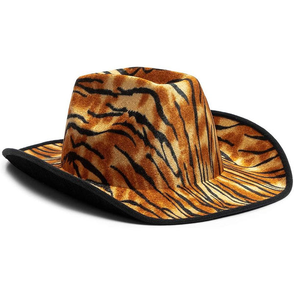 Fun Cowboy Hat, Party Cowboy Hat in Tiger Print (Adult Size, Unisex)