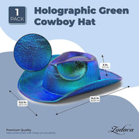 Zodaca Metallic Green Western Cowboy Hat for Adults (Holographic, Unisex)