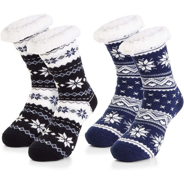 Faux Fur Slipper Socks for Men's US size 8-10 (2 Pairs)